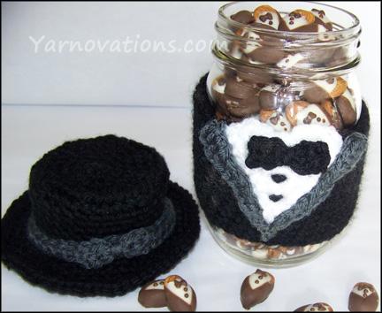 Tuxedo Crochet Jar Cozy
